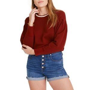 High Waist Button Front Denim Shorts